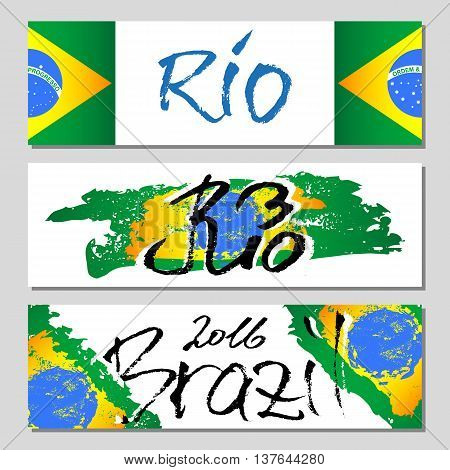 Banners with lettering about Rio de Janeiro and Brazil with green yellow blue paint splashes and brush strokes and brazilian flag. Vector illustration