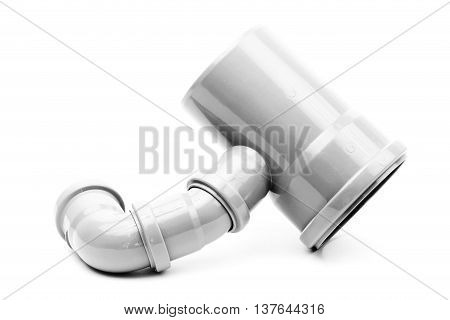 New gray drain pipe isolated on a white background