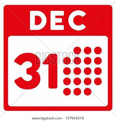 Last Year Date vector icon. Style is flat symbol, red color, rounded angles, white background.