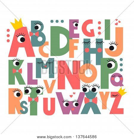 Cartoon alphabet with eyes and lashes on white background. Cute abc design for book cover, poster, card, print on baby's clothes, pillow etc. Colorful letters composition.