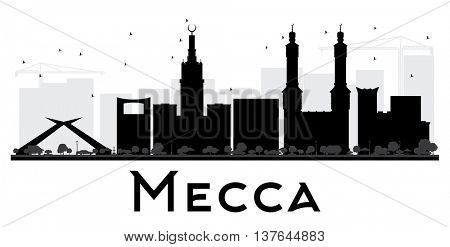 Mecca City skyline black and white silhouette. Vector illustration. Simple flat concept for tourism presentation, banner, placard or web site. Business travel concept. Cityscape with landmarks