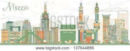 Abstract Mecca Skyline with Color Landmarks. Vector Illustration. Travel and Tourism Concept with Historic Buildings. Image for Presentation Banner Placard and Web Site.