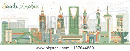Abstract Saudi Arabia Skyline with Color Landmarks. Vector Illustration. Business Travel and Tourism Concept. Image for Presentation Banner Placard and Web Site.