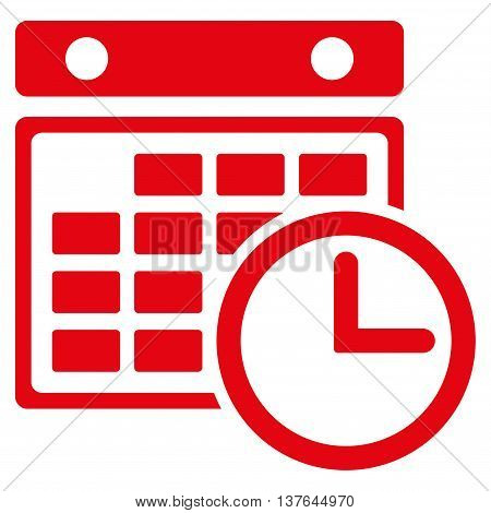 Timetable vector icon. Style is flat symbol, red color, rounded angles, white background.