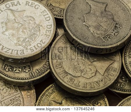 A lot of shiny British pound coins