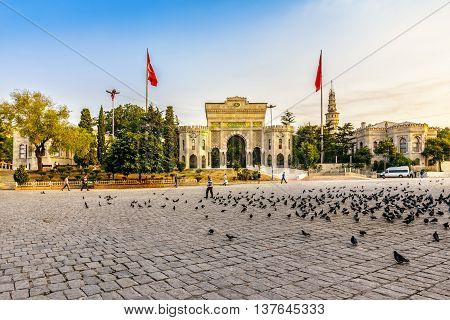 ISTANBUL - AUGUST 18: Istanbul University August 18 2015 in Istanbul. Prominent Turkish university main campus being on Beyazıt Square in the district of Fatih early in the morning