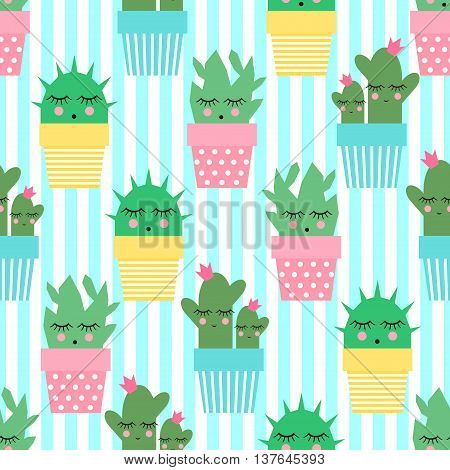 Cactus in cute pots seamless pattern on striped background. Simple cartoon plant vector illustration. Child drawing style cute sleeping cacti background. Design for fabric and decor.