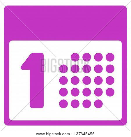 First Date vector icon. Style is flat symbol, violet color, rounded angles, white background.