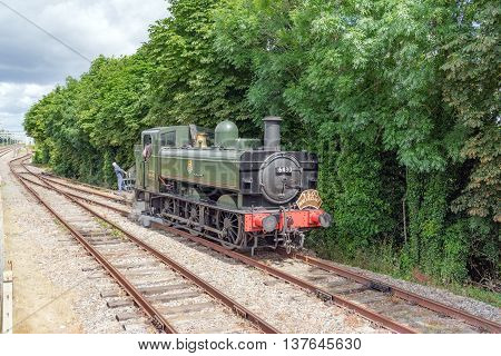 Cholsey/UK. 3rd July 2016. Locomotive 6430 in the sidings at Cholsey station.