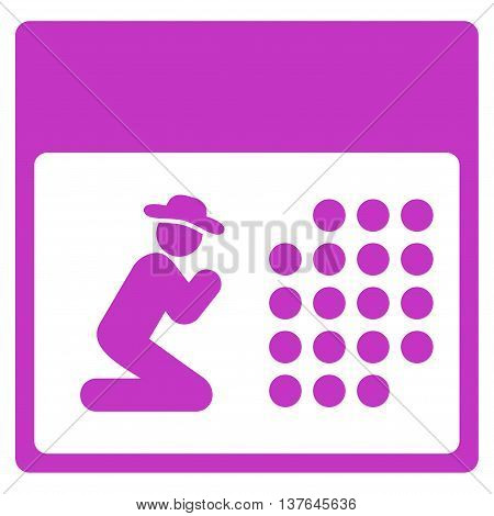 Pray Organizer vector icon. Style is flat symbol, violet color, rounded angles, white background.