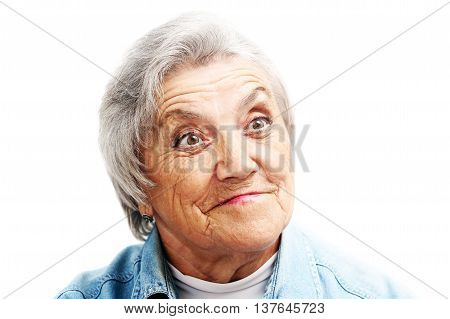 Surprised grandmother face on a white background