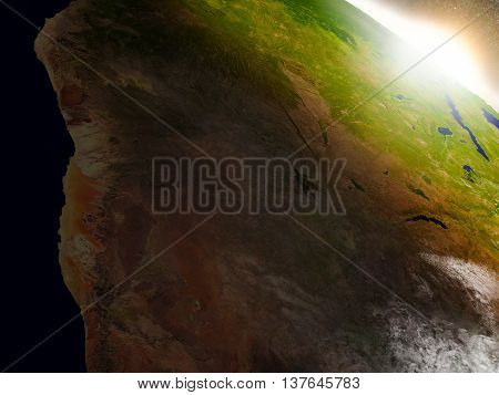 Namibia And Botswana From Space During Sunrise