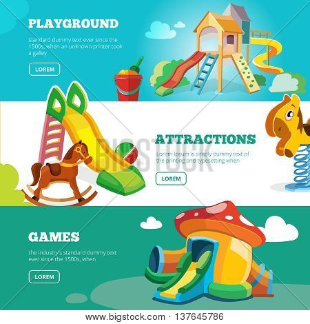 vector banners set of children playground. Illustrations in flat style. Childhood parenting collection.