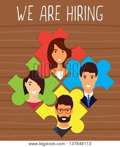 Human resources, recruiting concept. We are hiring puzzle. Vector flat design illustration
