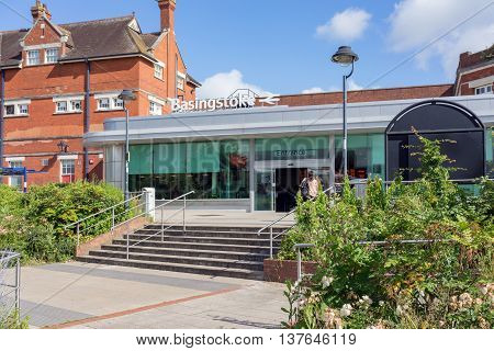Basingstoke/UK. 4th June 2016. The modern entrance to Basingstoke station on the South Western mainline.