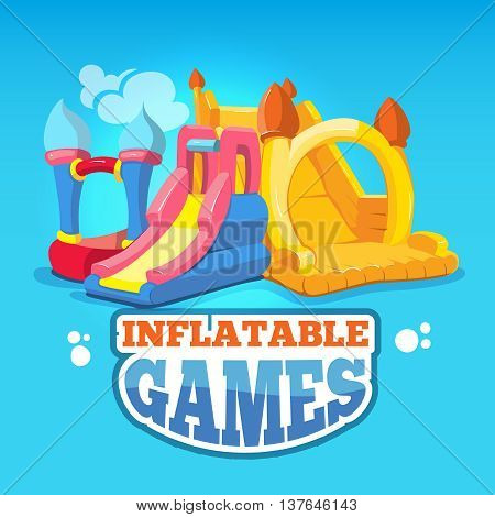 big Vector illustration set of inflatable castles and children hills on playground. Pictures isolate on blue background
