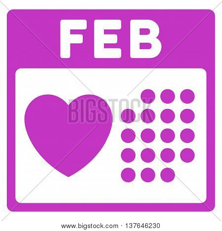 Valentine February Day vector icon. Style is flat symbol, violet color, rounded angles, white background.