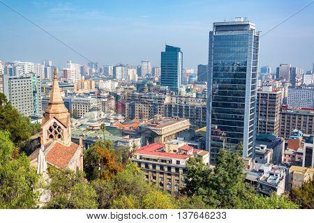 Church And Downtown Santiago