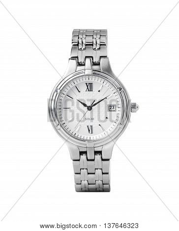 A women's silver solar-powered watch straight on isolated on white.
