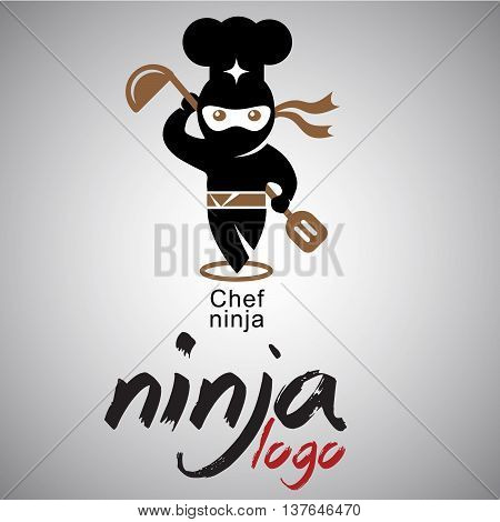 chef ninja logo concepts designed in a simple way so it can be use for multiple proposes like logo ,marks ,symbols or icons.