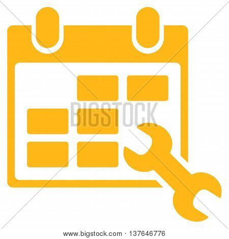 Configure Timetable vector icon. Style is flat symbol, yellow color, rounded angles, white background.