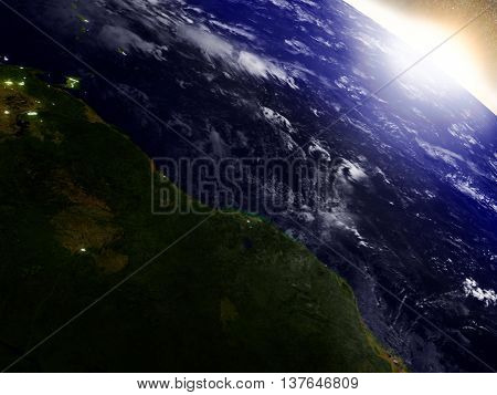 Guynea And Suriname From Space During Sunrise