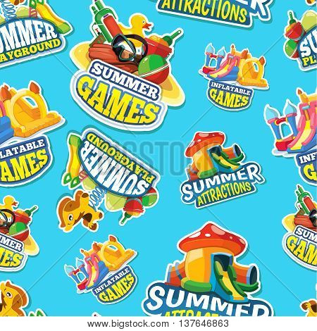 Vector seamless pattern of color emblems with toys for summer games on inflatable playground. Advertise labels. Pictures isolate on blue background