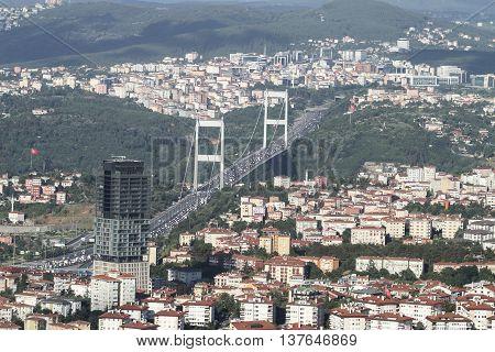Fatih Sultan Mehmet bridge in Istanbul City Turkey