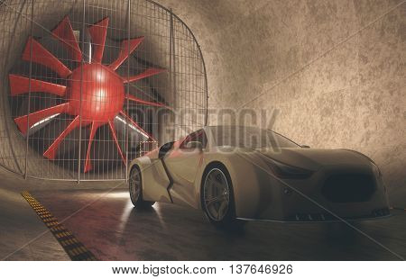 3D illustration concept car without reference based on real vehicles inside of windtunnel. Clipping path included.