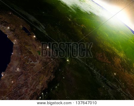 Bolivia From Space During Sunrise