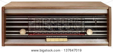 Old Wooden Dial Radio Tuner Isolated with Clipping Path