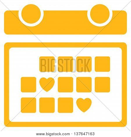 Favourite Days vector icon. Style is flat symbol, yellow color, rounded angles, white background.
