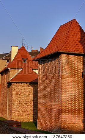 Medieval fortification brick in city of Poznan