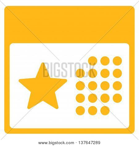 Holiday Calendar vector icon. Style is flat symbol, yellow color, rounded angles, white background.