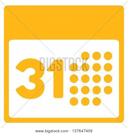 Last Month Date vector icon. Style is flat symbol, yellow color, rounded angles, white background.