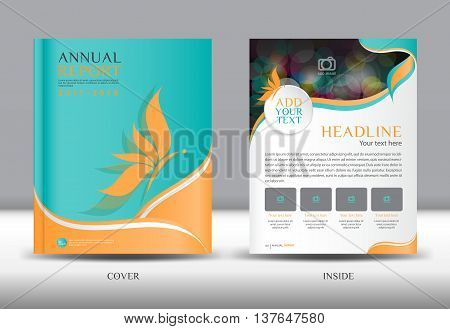 Blue and orange Annual report template cover design brochure flyer booklet portfolio Leaflet presentation book catalogs newsletter butterfly magazine ads