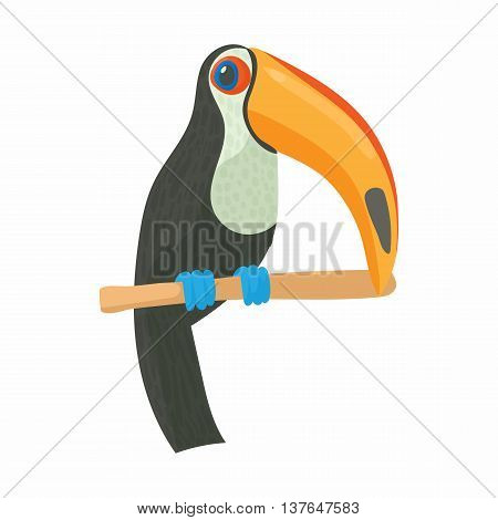 Toucan icon in cartoon style isolated on white background. Bird symbol