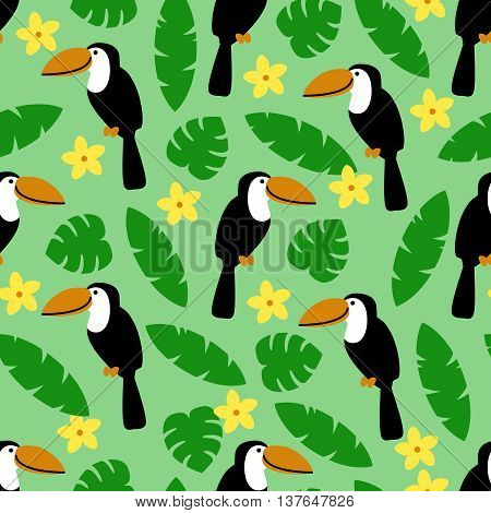 Seamless pattern with toucan, palm leaves and flower on green background. Art vector illustration.