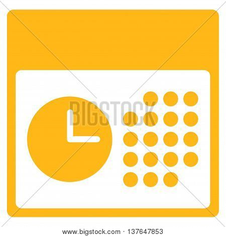 Time And Date vector icon. Style is flat symbol, yellow color, rounded angles, white background.