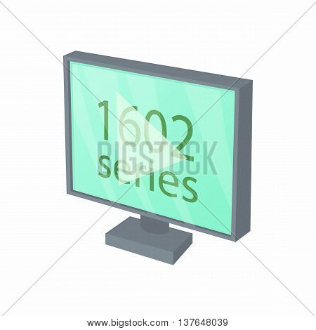 View series on TV icon in cartoon style isolated on white background. Cinema symbol