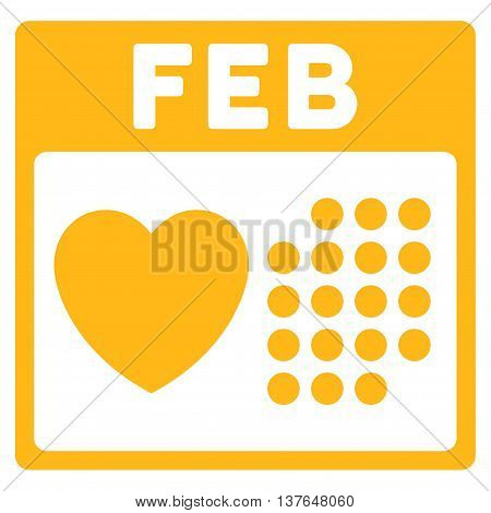 Valentine February Day vector icon. Style is flat symbol, yellow color, rounded angles, white background.