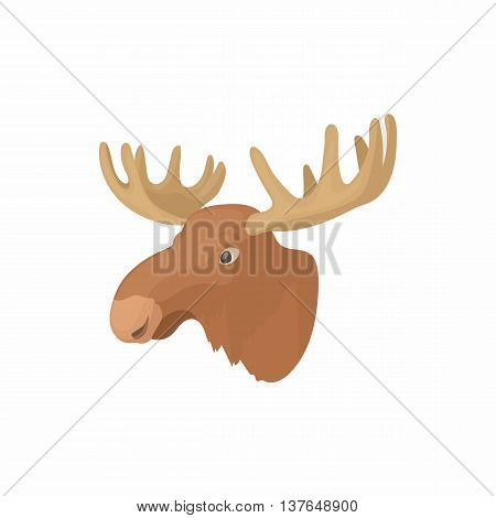 Head of elk icon in cartoon style isolated on white background. Animal symbol