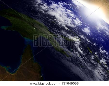 Papua New Guinea From Space During Sunrise