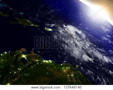 South Caribbean From Space During Sunrise