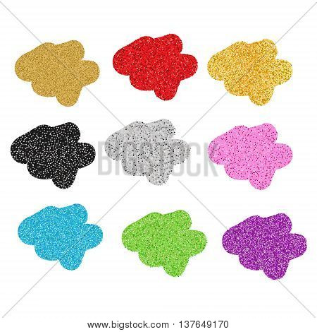 Colorful glittering blobs. Vector illustration, isolated design elements. Sparkling blots