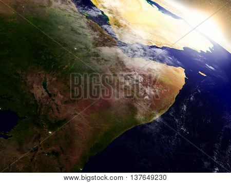 Somalia And Ethiopia From Space During Sunrise