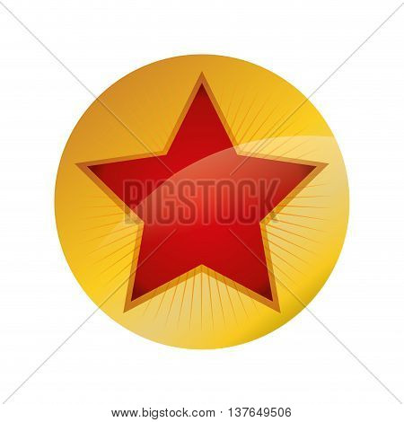 Label concept represented by seal stamp with star inside icon. Isolated and flat illustration
