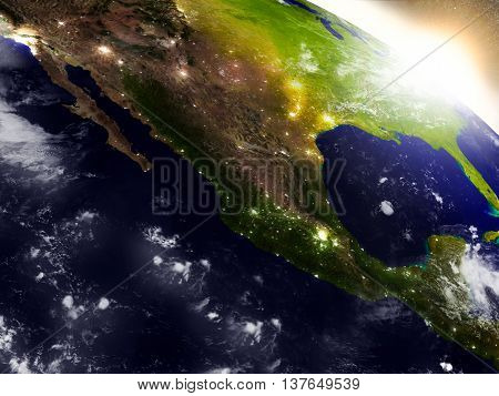 Mexico From Space During Sunrise
