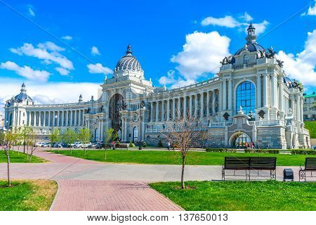 Farmers Palace in Kazan Russia. View from the Farmers park