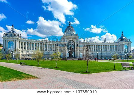 View of the beautiful Palace of Farmers in Kazan